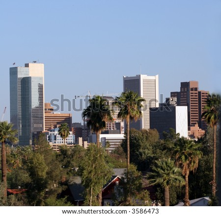 Highrise Buildings in Downtown of Phoenix, AZ - stock photo