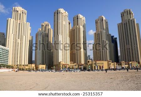 Highrise buildings in Dubai, United Arab Emirates - stock photo