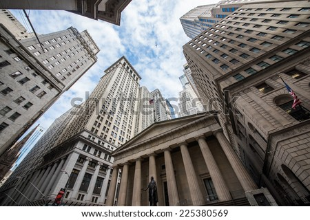 Highrise buildings in Wall Street financial district, New York City - stock photo