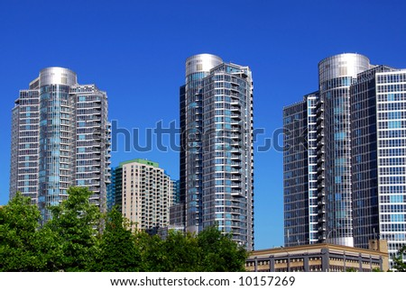 Highrise buildings of a modern condominium complex - stock photo