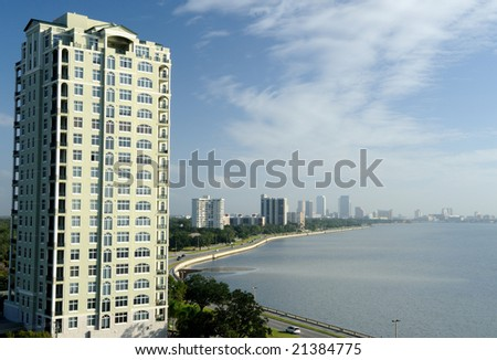 highrise condo on Tampa bay - stock photo