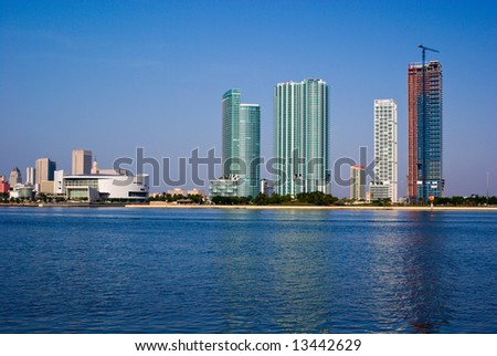 Highrise Construction on Miami Bayfront - stock photo
