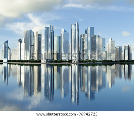 highrise glass skyscraper buildings skyline reflected on water against a clouded sky - stock photo