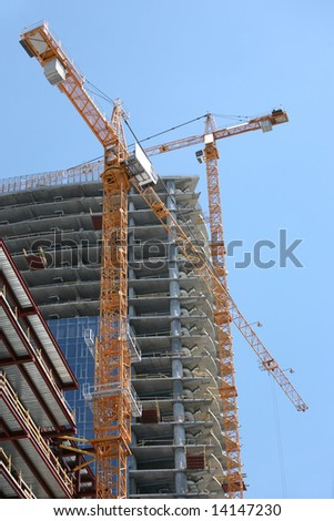 Highrise Office Building Construction Site - stock photo
