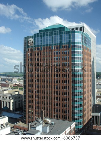 Highrise Office Building in downtown of Des Moines, Iowa, USA - stock photo