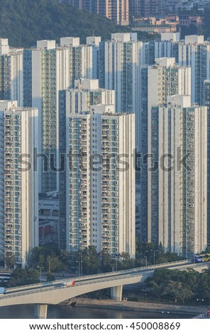 Highrise residential buildings in Hong Kong city  - stock photo