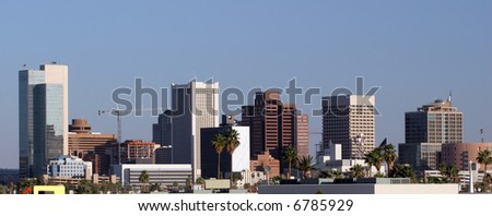 Highrise Towers of Glass, Steel and Concrete, Phoenix, AZ - stock photo
