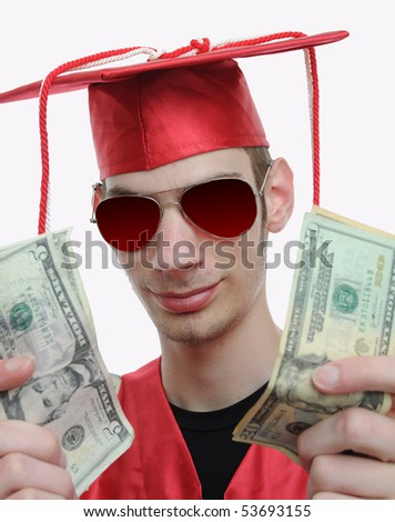 Highschool, university, or college graduate shows off all the cash he has, now that he has graduated - stock photo