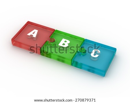 Hight Resolution 3d Image of ABC Letters on computers keys - stock photo