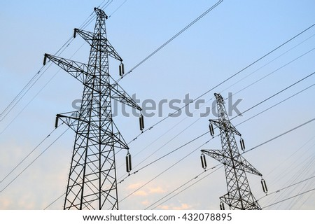 Hight voltage electric poles in blue sky