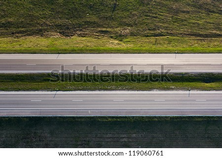 Highway - aerial landscape. - stock photo