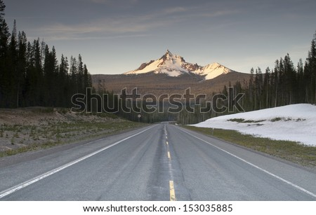 Highway and Forested area around Mt. Thielsen north of Crater Lake - stock photo