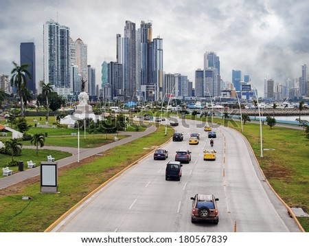 Highway and skyscraper buildings of business center in Panama City with cloudy sky, Panama, Central America - stock photo