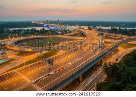 Highway and Suspension bridge in bangkok Thailand - stock photo