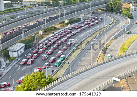 Highway and taxi station at airport - stock photo