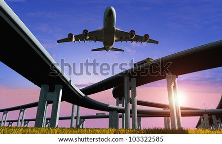Highway and the aircraft against the evening sky. - stock photo
