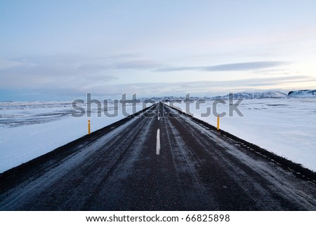 Highway around Iceland - stock photo