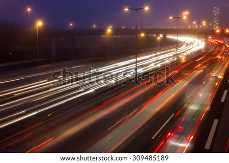 Highway at Evening Rush Hour in Berlin, Germany