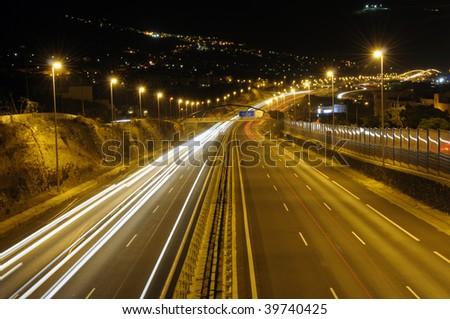 Highway at night. Canary Island Tenerife, Spain - stock photo