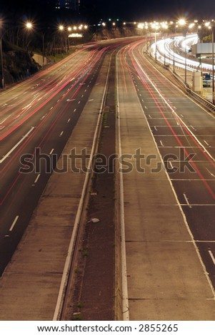 Highway At Night, Long Exposure, Car Lights On The Road, Sydney, Australia - stock photo