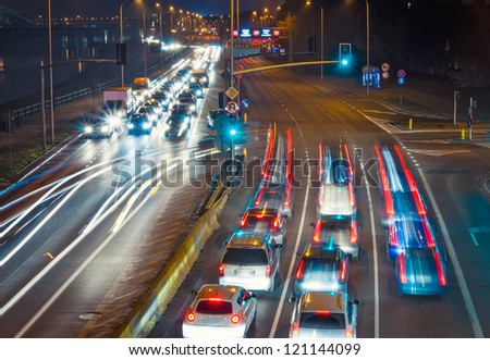 Highway at night. Poland, Warsaw. - stock photo