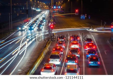 Highway at night. Poland, Warsaw. - stock photo