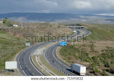 Highway at northern Spain - stock photo