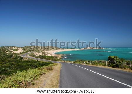 highway at the coast - stock photo