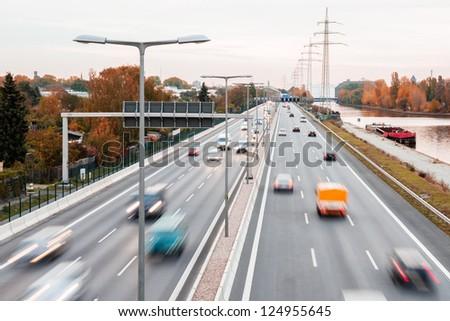 highway autumn - stock photo