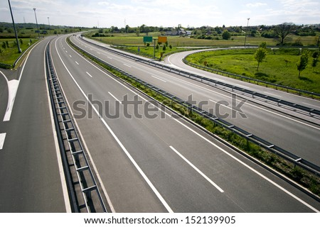 Highway between town Zagreb and Gorican on Hungarian border - stock photo