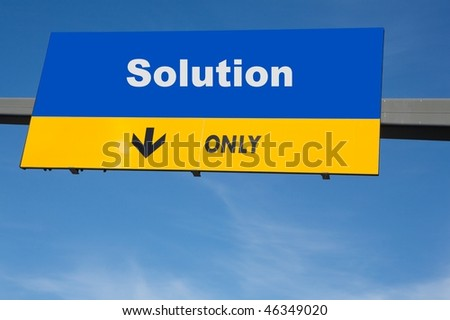 Highway billboard the word of solution on it - stock photo