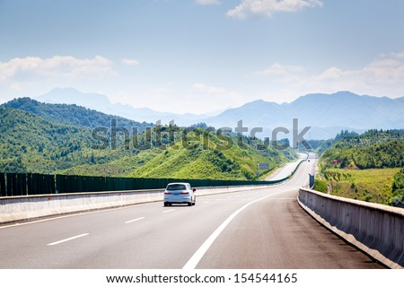 Highway, blue sky, sunny weather
