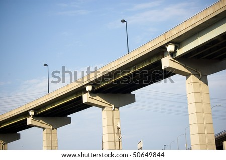 highway , bridge , architectural background - stock photo