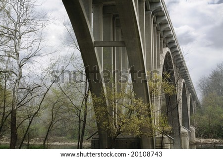 Highway Bridge On A Misty Morning, The Little Miami River, Ohio - stock photo