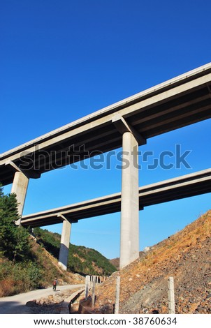 Highway bridge over the valley under blue sky.