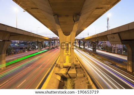 Highway bridge with street light in bangkok, Thailand, twilight time.