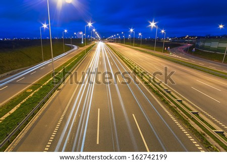 Highway bypass of Gdansk at night, Poland - stock photo