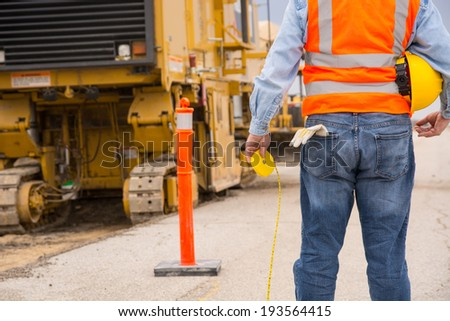 Highway construction worker - stock photo