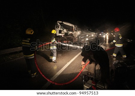 Highway crash wreck with truck - stock photo
