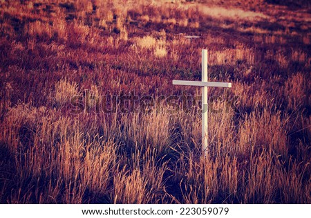 highway cross of rememberance with instagram retro filter - stock photo