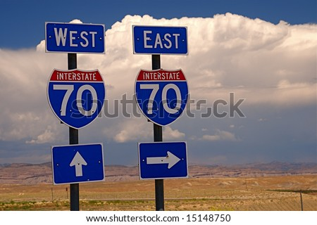 Highway directional signage on a remote stretch of interstate in Utah USA