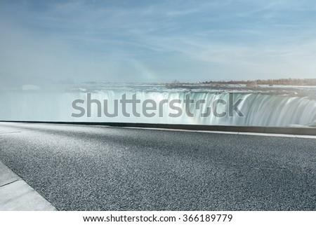 highway go aside Niagara Falls, Canada side. - stock photo