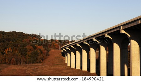 Highway 80 going above Cuyahoga River in Cuyahoga Valley National Park - stock photo