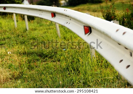 highway guard rail - stock photo