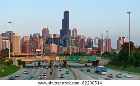 Highway I94 heading to city of Chicago - stock photo