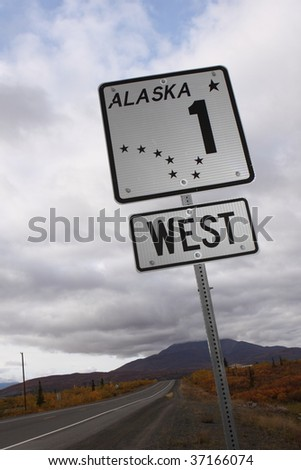 Highway 1 in Alaska - stock photo