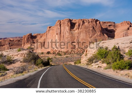 Highway in Arches National Park near Moab, Utah.