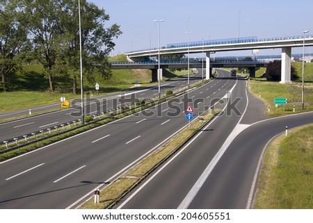 Highway in capital Zagreb in Croatia - stock photo
