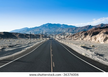 highway in death valley national park, nevada, usa - stock photo