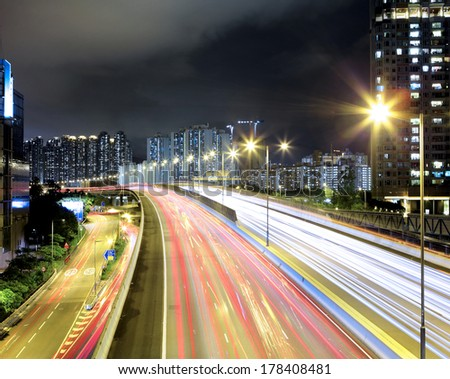 Highway in downtown at night - stock photo